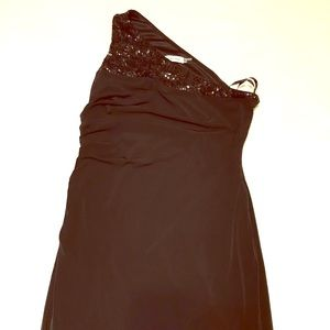Calvin Klein black one shoulder sequin dress